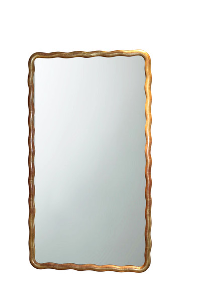 1850c French Wavy Gold Gilt Wood Frame Mirror