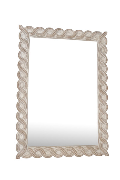 1890c French Large Bleached Scroll Frame Mirror