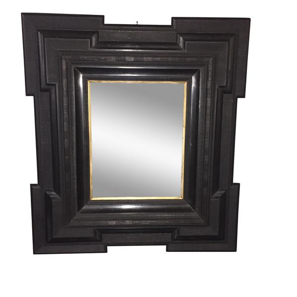 19thc Dutch Large Black Framed Mirror
