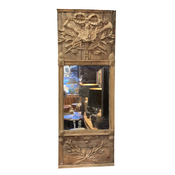 19thc French Carved Wood Mirror