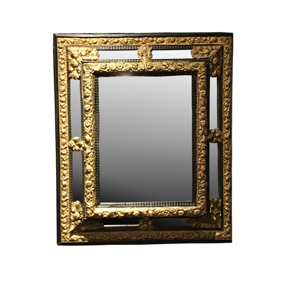 19thc French Gold Gilt Metal and Ebony Frame Mirror