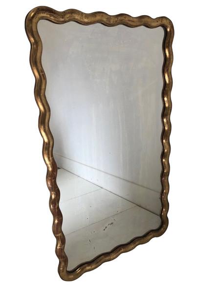 19thc French Gold Gilt Serpentine Frame Mirror