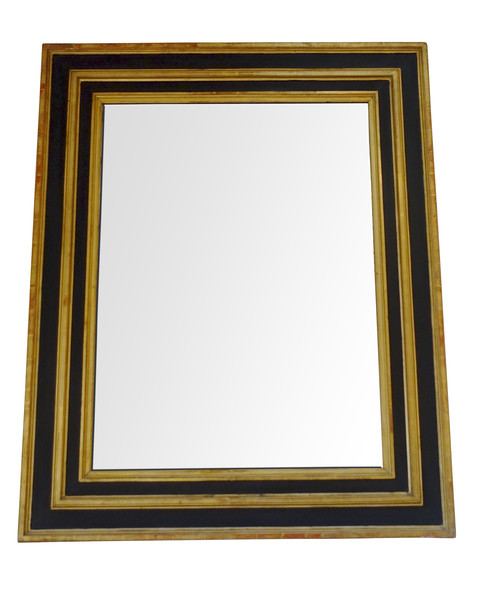 19thc French XL Ebonized / Gold Leaf Mirror