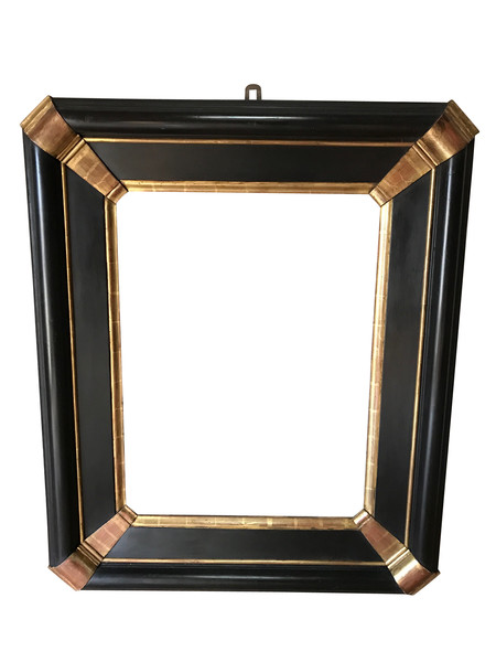 19thc Italian Ebony / Gold Mirror