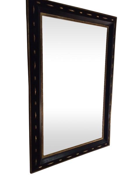 19thc Italian Large Black / Gold Framed Mirror
