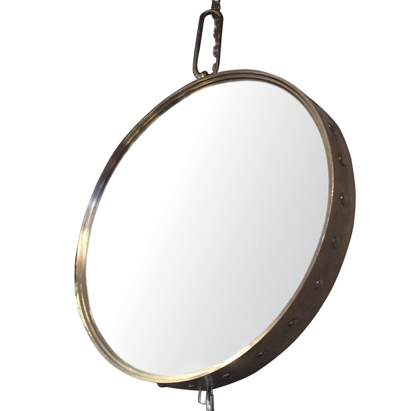 Contemporary Round Polished Nickel Mirror
