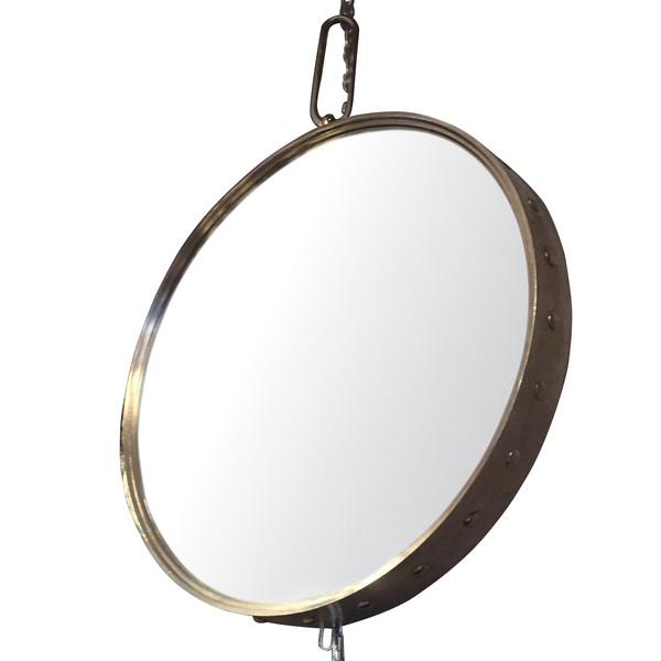 Contemporary Round Polished Nickel Mirror