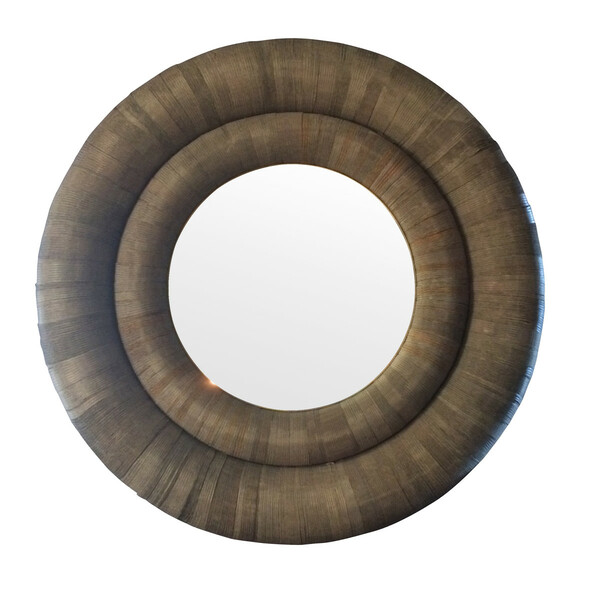 Contemporary Sliced Paper Framed Large Round Mirror