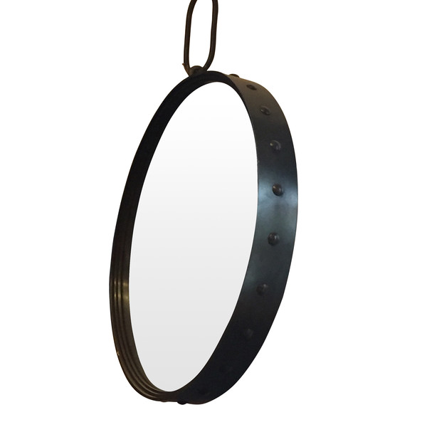 Contemporary Round Steel Mirror