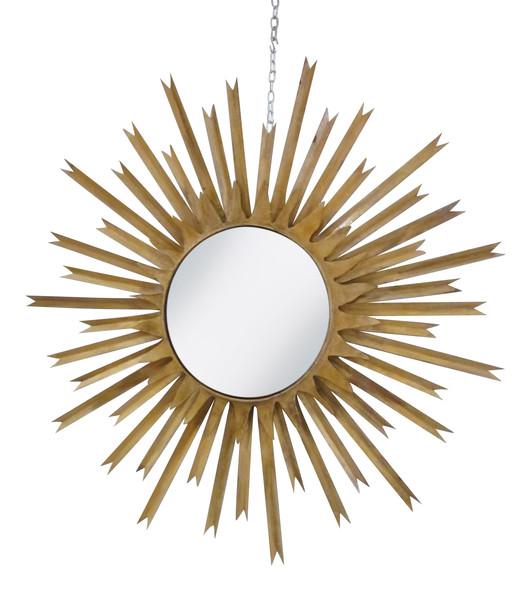 Mid Century French Gold Gilt Starburst Mirror