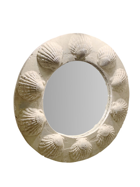 Mid Century French Plaster Shell Round Mirror