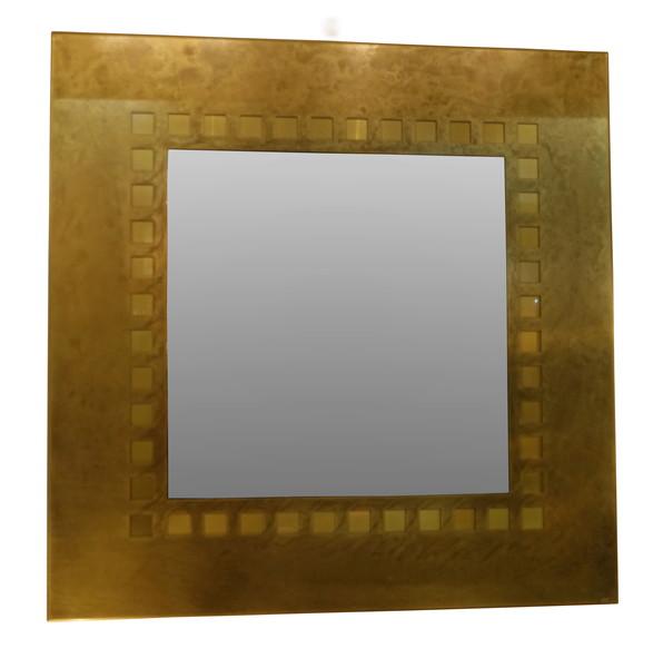 Mid Century French Square Bronze Mirror