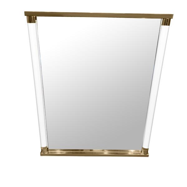 Mid Century Italian Lucite Column Framed Mirror