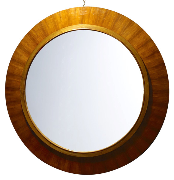 Mid Century French XL Round Rosewood Framed Mirror