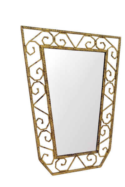 1930's French Gold Gilt Iron Mirror