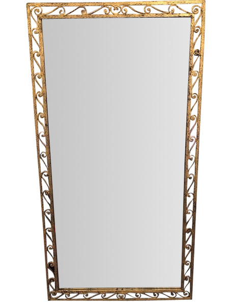1940'S French  Large Gold Gilt Metal Scroll Design Frame Mirror