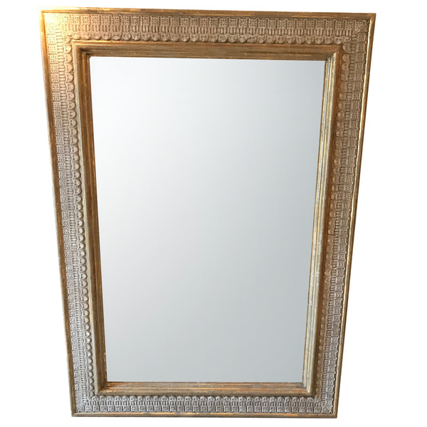 1940's French Gold Gilt White Crackle Border Framed Mirror