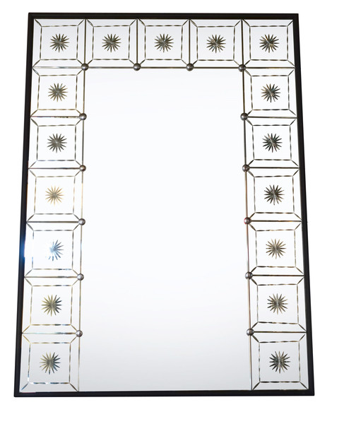 1940's French Mirror With Beveled Mirror Frame