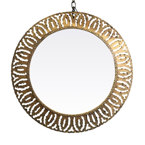 1970's French Round Gold Gilt Metal Framed Mirror