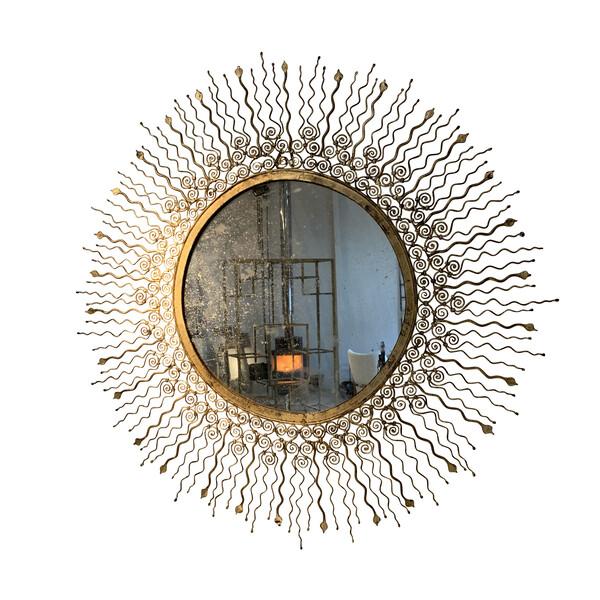 1960's French Round Gold Gilt Mirror