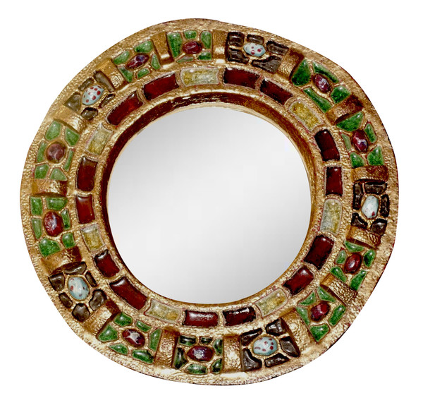 1960's French Round Jeweled Mirror by Guerin