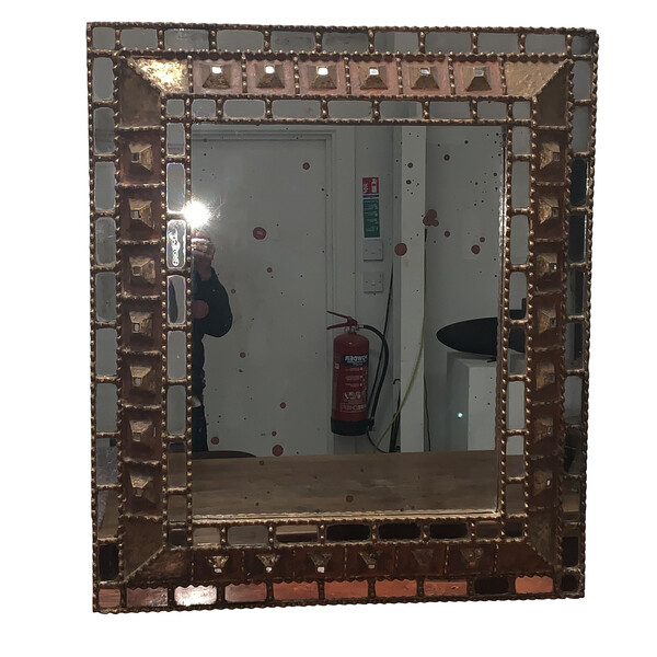 1950's Spanish Carved Wood and Pieced Mirror Framed Mirror