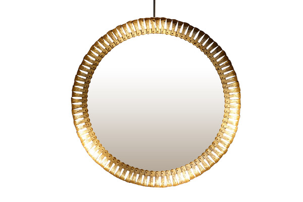1940's Spanish Gold Gilt Metal XL Round Mirror