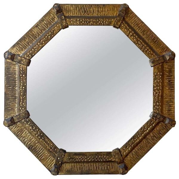 1950's Spanish Gold Gilt Octagonal Mirror