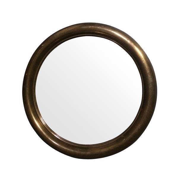 1960's Spanish Round Brass Frame Mirror