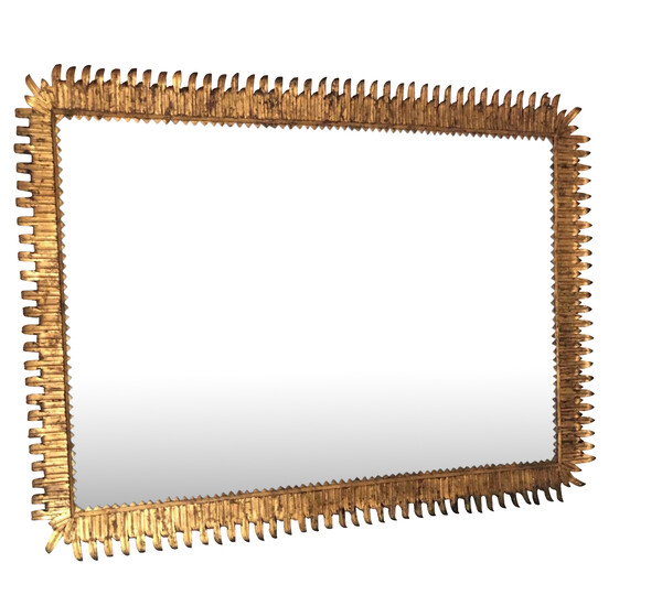 1930's Spanish XXL Gilt Metal Mirror