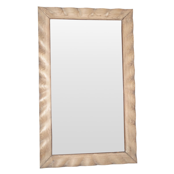 1940's French Bleached Oak Framed Mirror