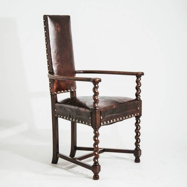 1860c French Cacqueteuse Leather Side Chair