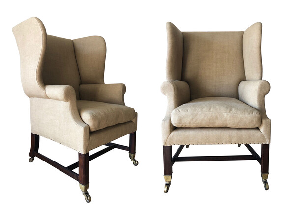 1900c English Pair George III Style Wing Chairs