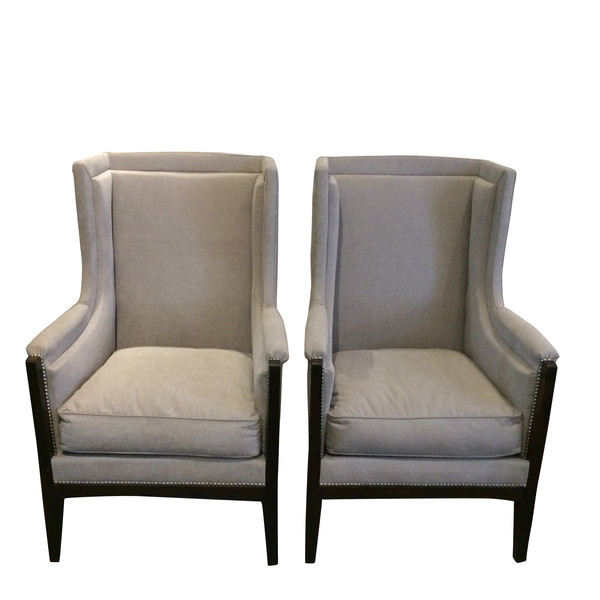 1940's French Pair of Upholstered Wing Chairs