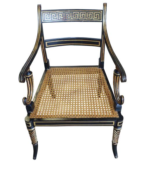 19th C English Regency Greek Key Design Side Chair