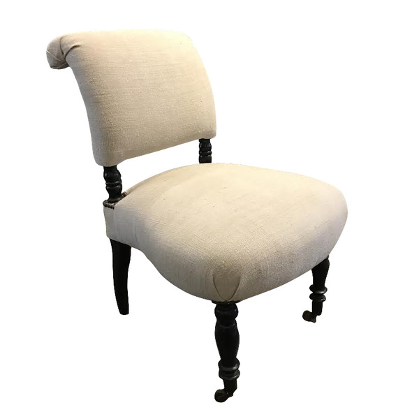 19th Century Napoleon III Upholstered Slipper Chair, France