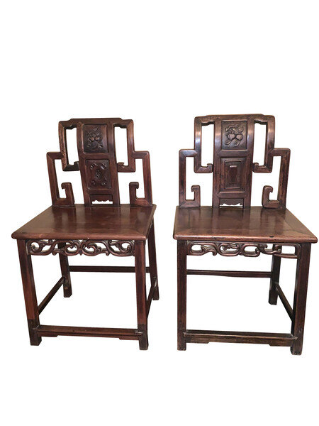 19thc Chinese Pair Rosewood Hall Chairs