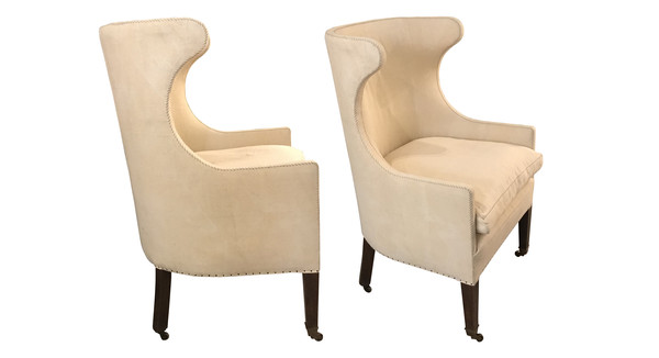 19thc English Pair Barrel Back Wing Chairs