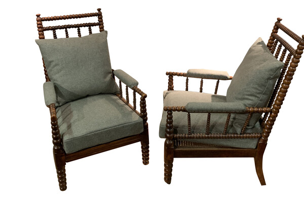 19thc English Pair Bobbin Chairs