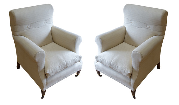 19thc English Pair Club Chairs
