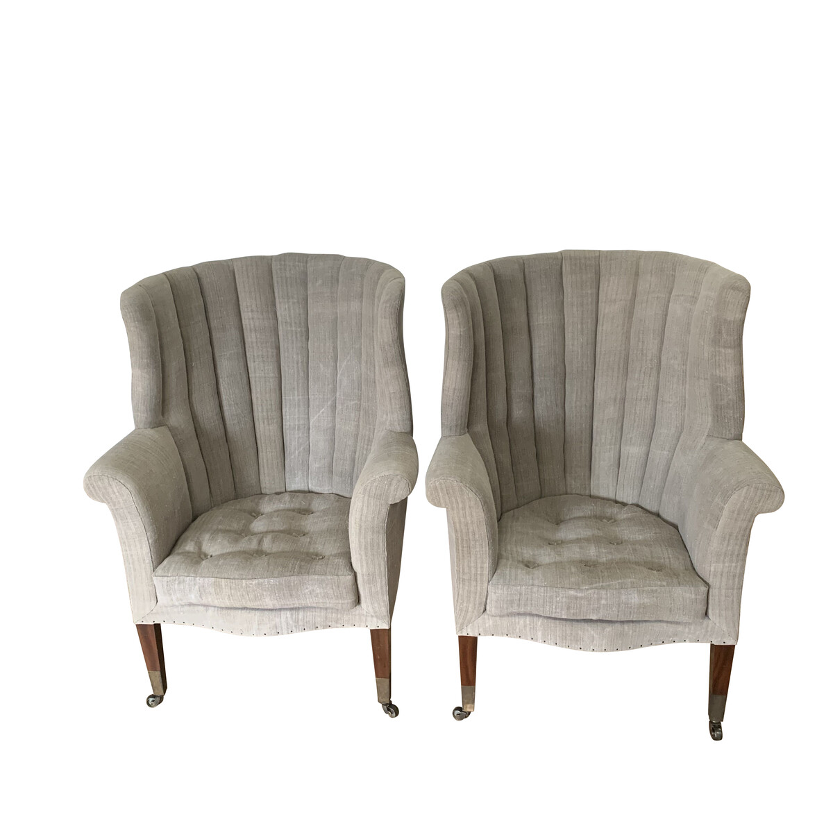Picture of: Balsamo Antiques 19thc English Pair Barrel Back Wing Chairs