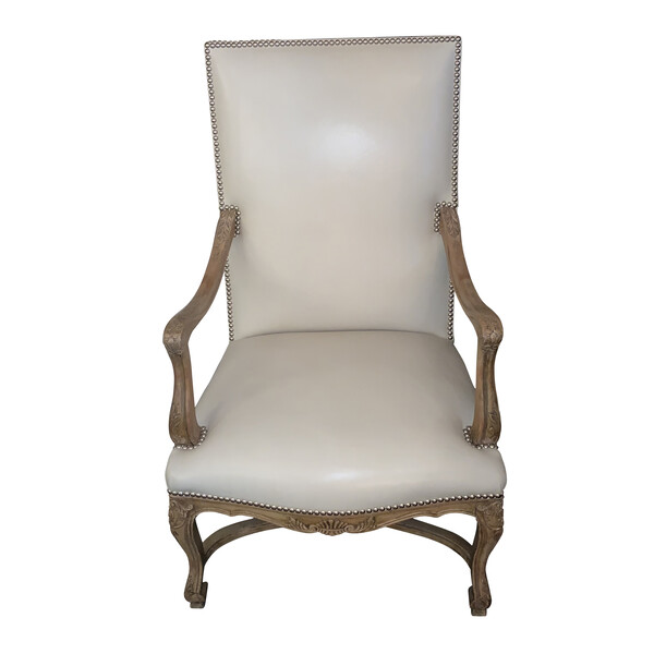 19thc French Leather Single Side Chair