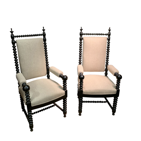 19thc French Pair Ball Arm Chairs