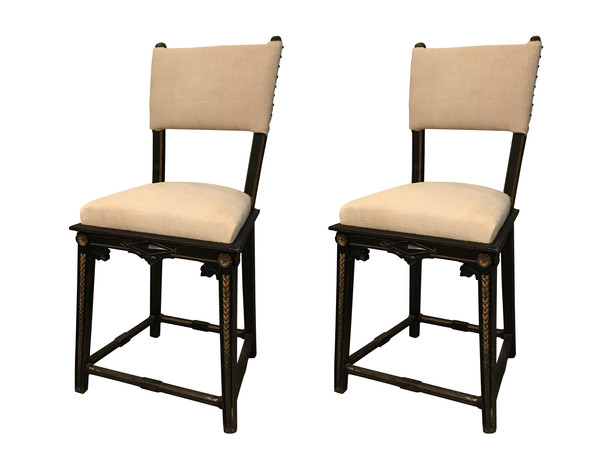 19thc French Pair Small Side Chairs