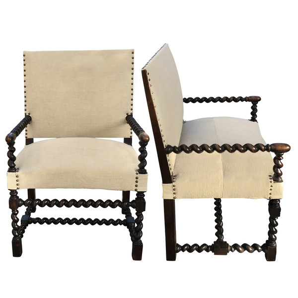19thc French Pair Spool Arms and Legs Side Chairs