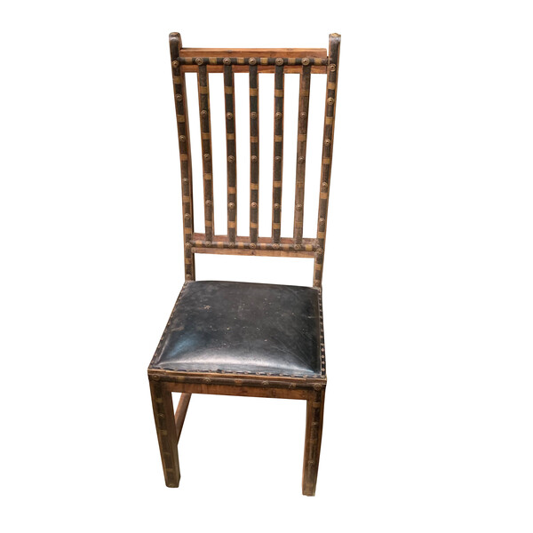 19thc Indian Iron and Wood Single Chair