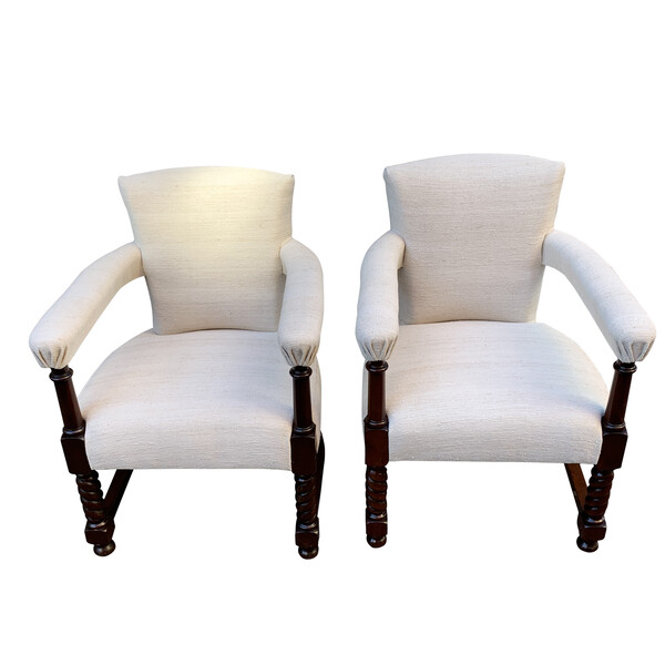 19thc Scottish Pair Club Chairs