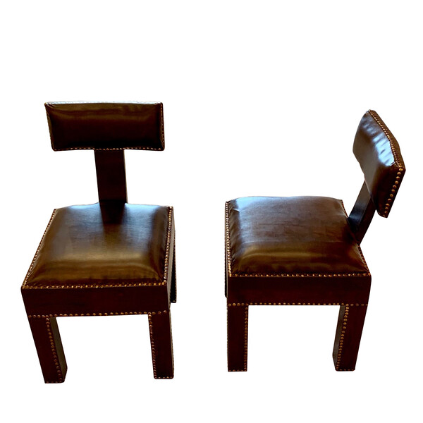Contemporary Moroccan Pair Traditional T Shaped Back Side Chair