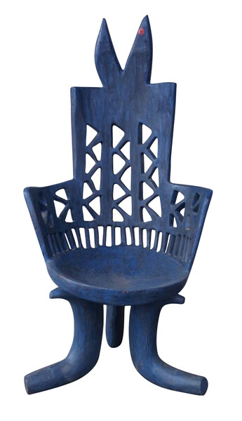 Mid Century Ethiopian Carved Blue Side Chair