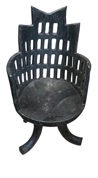 Mid Century Ethiopian Carved Dark Blue Side Chair
